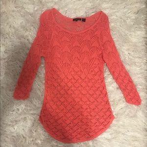 Jeanne Pierre Coral Crochet Sweater